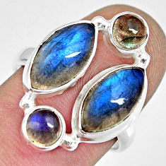 12.07cts natural blue labradorite 925 sterling silver ring jewelry size 8 r13676