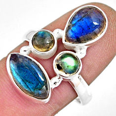 10.24cts natural blue labradorite 925 sterling silver ring size 8.5 r13677