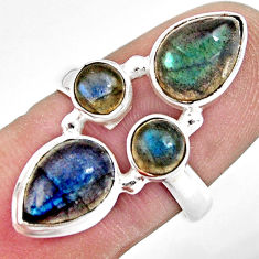 925 sterling silver 7.04cts natural blue labradorite pear ring size 7.5 r13678