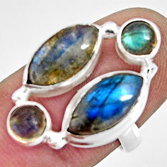 11.15cts natural blue labradorite 925 sterling silver ring size 7.5 r13679