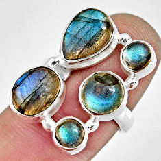 10.70cts natural blue labradorite 925 sterling silver ring size 6.5 r13680