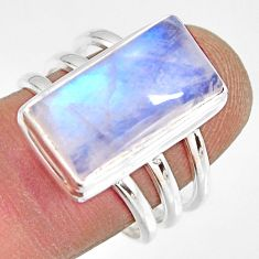 9.44cts natural rainbow moonstone 925 silver solitaire ring size 8 r13683