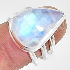 13.79cts natural rainbow moonstone 925 silver solitaire ring size 6.5 r13687