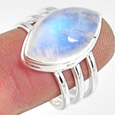 10.54cts natural rainbow moonstone 925 silver solitaire ring size 9 r13690