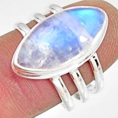10.37cts natural rainbow moonstone 925 silver solitaire ring size 7.5 r13692