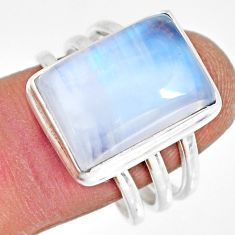 10.74cts natural rainbow moonstone 925 silver solitaire ring size 9 r13694