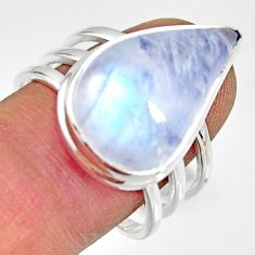 925 silver 13.41cts natural rainbow moonstone pear solitaire ring size 9 r13695