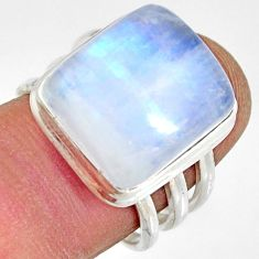 925 silver 9.64cts natural rainbow moonstone solitaire ring size 7.5 r13699