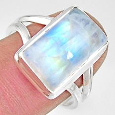 8.14cts natural rainbow moonstone 925 silver solitaire ring size 8 r13702