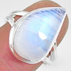 10.37cts natural rainbow moonstone 925 silver solitaire ring size 7.5 r13703
