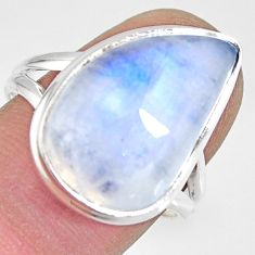 925 silver 13.05cts natural rainbow moonstone solitaire ring size 8.5 r13704