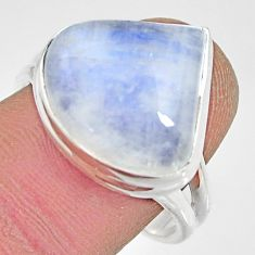 10.70cts natural rainbow moonstone 925 silver solitaire ring size 9 r13709