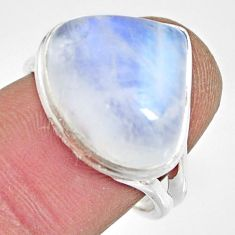 10.02cts natural rainbow moonstone 925 silver solitaire ring size 7.5 r13710
