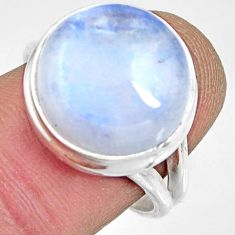 925 silver 11.57cts natural rainbow moonstone solitaire ring size 7.5 r13713