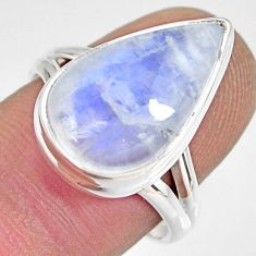 9.42cts natural rainbow moonstone 925 silver solitaire ring size 8 r13714