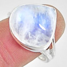 11.65cts natural rainbow moonstone 925 silver solitaire ring size 9.5 r13716