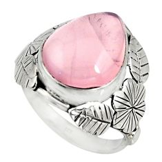 10.02cts natural pink rose quartz silver flower solitaire ring size 8.5 r13722