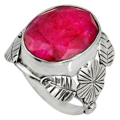 925 silver 10.26cts natural red ruby oval flower solitaire ring size 6 r13725