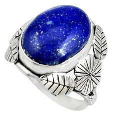 10.02cts natural blue lapis lazuli silver flower solitaire ring size 8 r13728