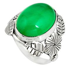 8.43cts natural green chalcedony 925 silver flower solitaire ring size 7 r13730