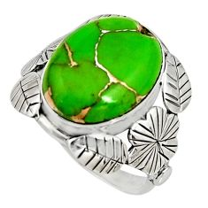 9.42cts green copper turquoise 925 silver flower solitaire ring size 8.5 r13734