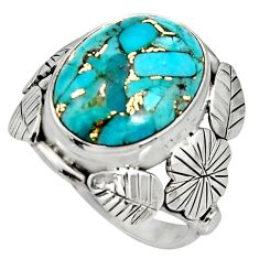 9.39cts blue copper turquoise 925 silver flower solitaire ring size 7.5 r13735