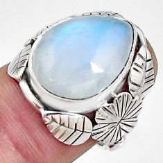 10.02cts natural rainbow moonstone silver flower solitaire ring size 6 r13739