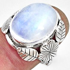 10.37cts natural rainbow moonstone silver flower solitaire ring size 7 r13740