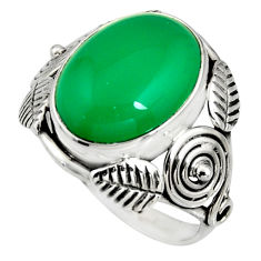925 silver 7.51cts natural green chalcedony solitaire ring jewelry size 9 r13744