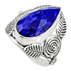 7.84cts natural blue sapphire 925 silver solitaire ring jewelry size 6 r13747