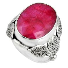 10.70cts natural red ruby 925 silver flower solitaire ring size 6.5 r13761