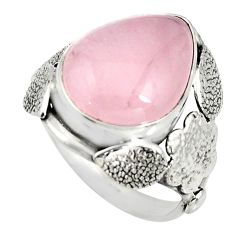 10.02cts natural pink rose quartz silver flower solitaire ring size 7.5 r13765