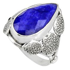 7.83cts natural blue sapphire 925 silver flower solitaire ring size 8 r13766