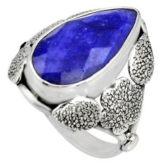925 silver 8.14cts natural blue sapphire flower solitaire ring size 7 r13767