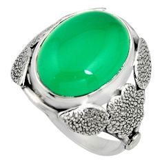 8.14cts natural green chalcedony 925 silver flower solitaire ring size 8 r13768