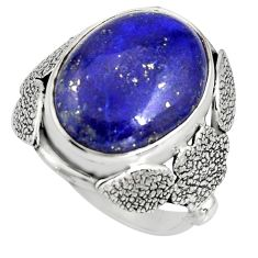 10.02cts natural blue lapis lazuli silver flower solitaire ring size 7 r13772