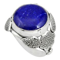 11.66cts natural blue lapis lazuli silver flower solitaire ring size 7 r13773