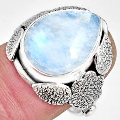 9.65cts natural rainbow moonstone silver flower solitaire ring size 8.5 r13777