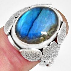 10.02cts natural blue labradorite 925 silver flower solitaire ring size 8 r13780