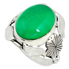 8.14cts natural green chalcedony 925 silver flower solitaire ring size 7 r13785