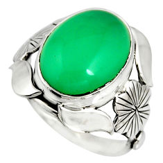 8.42cts natural green chalcedony silver flower solitaire ring size 8.5 r13786
