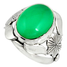 8.42cts natural green chalcedony 925 silver flower solitaire ring size 6 r13787