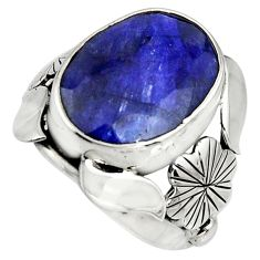 10.04cts natural blue sapphire 925 silver flower solitaire ring size 7 r13788