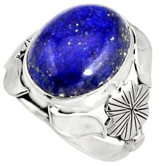 10.99cts natural blue lapis lazuli silver flower solitaire ring size 7.5 r13790