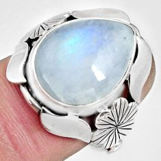 10.02cts natural rainbow moonstone 925 silver solitaire ring size 7.5 r13798