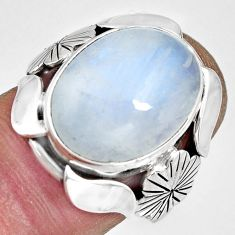 925 silver 10.69cts natural rainbow moonstone oval solitaire ring size 6 r13800