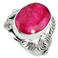 10.04cts natural red ruby 925 sterling silver solitaire ring size 8 r13801