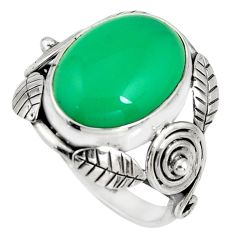 925 silver 10.02cts natural green chalcedony oval solitaire ring size 8 r13809