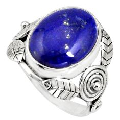 10.99cts natural blue lapis lazuli 925 silver solitaire ring size 8.5 r13815