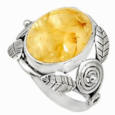 10.04cts natural golden tourmaline rutile silver solitaire ring size 9 r13816